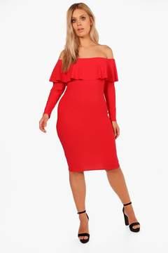 boohoo Plus Sophie Double Layer Midi Dress
