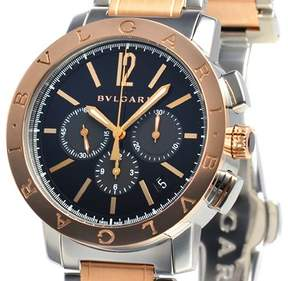 Bvlgari Black Dial Stainless Steel & 18kt Pink Gold Chronograph Men's Watch