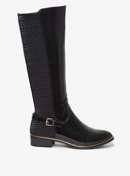 Dorothy Perkins Black 'Tina' Buckle Detail Long Boots