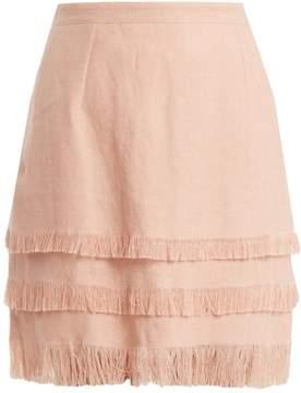 Andrew Gn Tiered linen mini skirt