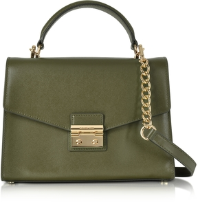 Michael Kors Sloan Medium Olive Leather Satchel Bag - OLIVE - STYLE