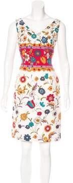 David Meister Silk Floral Print Dress