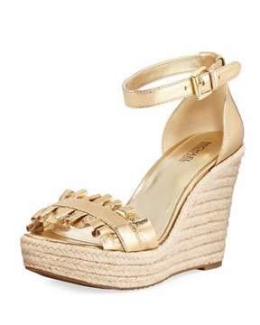 MICHAEL Michael Kors Bella Ruched Metallic Leather Wedge Sandal