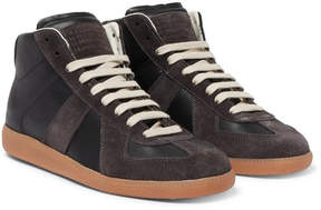 Maison Margiela Replica Leather And Suede High-Top Sneakers