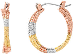 Bliss Tri-Tone Twist Three-Row Hoop Earrings