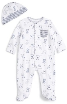 Little Me Infant Boy's Puppy Toile Footie & Beanie Set