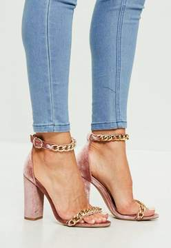 Missguided Pink Chain Block Heeled Sandals