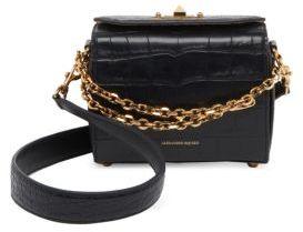 Alexander McQueen Box Bag 16 Croc-Embossed Leather Satchel