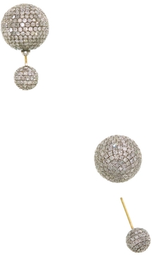 Artisan Women's Diamond Ball Silver Earrings