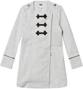 Karl Lagerfeld Grey Marl Coat-Style Sweat Dress