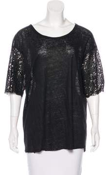 Anine Bing Scoop Neck Sequin Sleeves Top