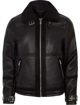 River Island Mens Big and Tall black faux shearling jacket