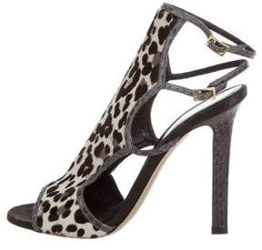 Tamara Mellon Snakeskin-Trimmed Trouble Maker Sandals