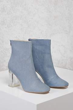 Forever 21 Denim Lucite Boots