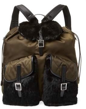 Prada Rabbit Fur-Trimmed Backpack