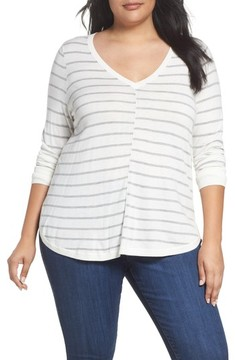 Caslon Plus Size Women's Marled V-Neck Sweater
