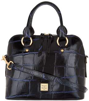 Dooney & Bourke Croco Embossed Leather Satchel Handbag -Cameron