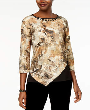 Alfred Dunner Deck the Halls Spliced Floral-Print Asymmetrical Top
