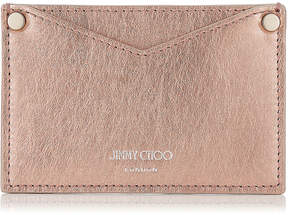 Jimmy Choo LIZA Rose Gold Etched Metallic Spazzolato Card Wallet