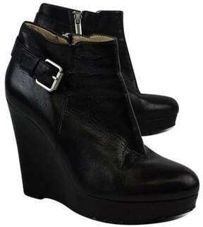 DKNY Black Leather Amber Wedge Booties