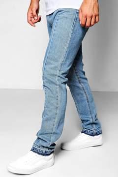 boohoo Mid Blue Slim Fit Panelled Denim Jeans