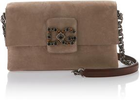 Dolce & Gabbana Crystal Embellished Suede Shoulder Bag