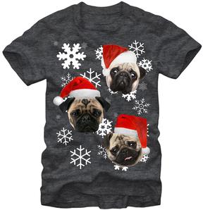 Fifth Sun Heather Charcoal Three Pug Christmas Tee