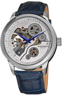 Akribos XXIV Akribos Manual Wind Skeleton Dial Blue Leather Men's Watch