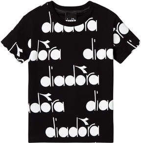 Diadora Black with White All Over Branded T-Shirt