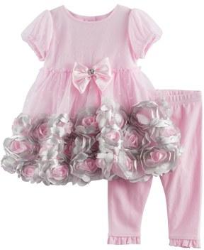 Nannette Baby Girl Rosette Dress & Ruffled Leggings Set