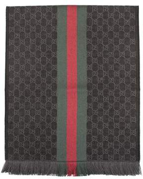 Gucci Grey GG Jacquard Web Knit Scarf