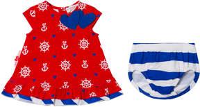 Agatha Ruiz De La Prada Red Blue And White Sailor Print and Stripe Dress And Bloomers