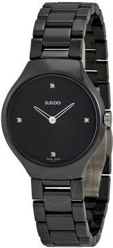 Rado True Thinline Black Dial Black Ceramic Ladies Watch