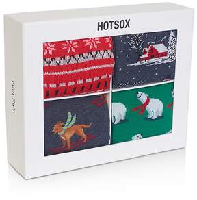 Hot Sox Hot Sock Holiday Socks, Pack of 4