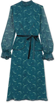 Anna Sui Star Burst Printed Crinkled Silk-chiffon Dress - Teal