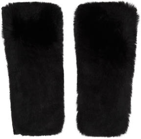 Yves Salomon Black Cashmere and Fur Mittens