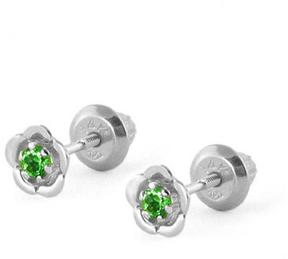 Ice 14K White Gold Emerald Flower Baby Girls' Earrings