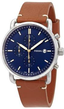 Fossil Commuter Blue Dial Brown Leather Men's Watch