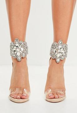 Missguided Nude Embellished Barely There Heeled Sandals