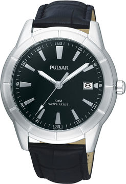 Pulsar Mens Black Leather Strap Watch PXH839X
