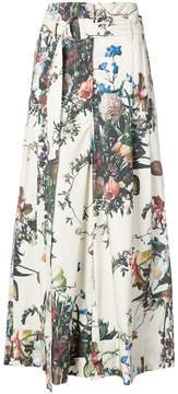 ADAM by Adam Lippes belted flared floral trousers