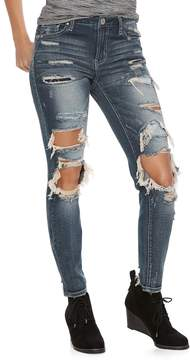 Almost Famous Juniors' Ripped Patched Skinny Jeans