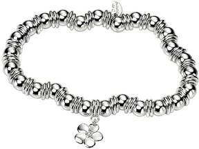Ice Girl Sterling Silver Diamond Flower Charm Beaded Stretch Bracelet