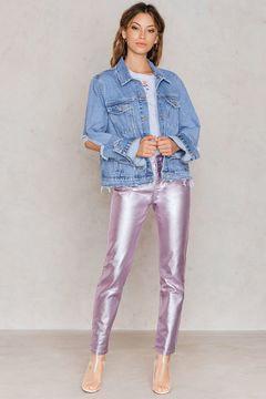 NA-KD Metallic Denim Pants