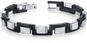 Ice Black and Brushed Stainless Steel Zig Zag Link Bracelet for Men