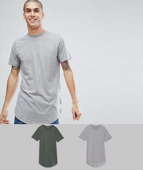 Jack and Jones Originals 2 Pack Longline T-Shirt SAVE