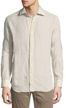 Neiman Marcus Plaid Linen Sport Shirt