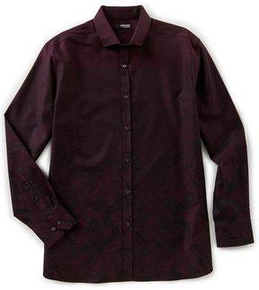 Murano Liquid Luxury Long Sleeve Jacquard Spread Collar Woven Shirt