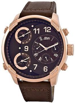 JBW G4 Multi-Time Zone Brown Dial Diamond Bezel Men's Watch