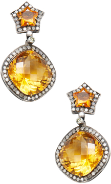 Artisan Women's Silver, Citrine & 1.40 Total Ct. Diamond Star Drop Earrings